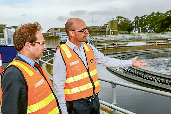 Grand tour: Maarten Van Herk, manager, sustainable water and treatment projects, South East Water, right, shows Eastern Victoria Daniel Mulino MP, over the plant.