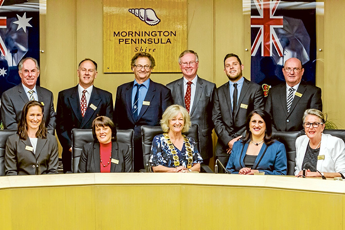 The new team: Mornington Peninsula Shire councillors elected for the next four years are, from left, Frank Martin, Julie Edge, Simon Brooks, Kate Roper, David Gill, Bev Colomb, Hugh Fraser, Sam Hearn, Antonella Celi, Bryan Payne and Rosie Clark. Picture: Yanni