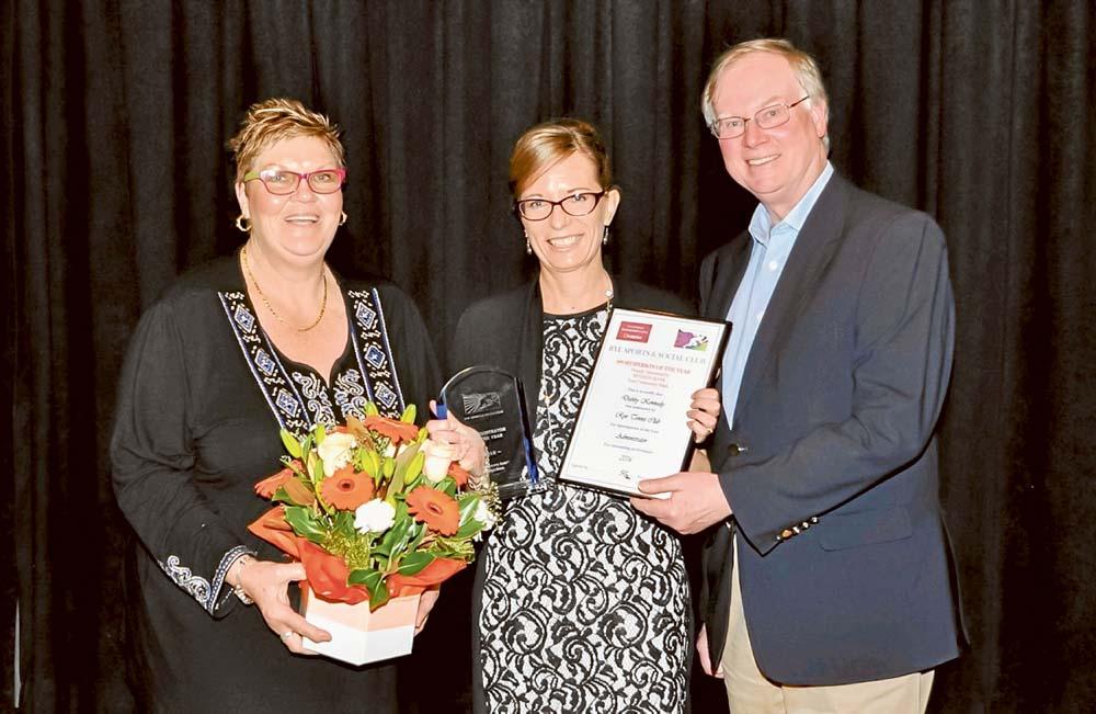 The office: Debbie Kennedy with Rye Sports & Social Club's secretary Robyn Van Lieshout and Cr Hugh Fraser.