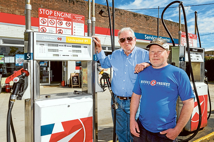 End of an era: David Bristow, and son, also David, left, have sold the Balnarring garage, above, which dates back to when Holdens and Fords ruled Australia's roads. Picture: Gary Sissons