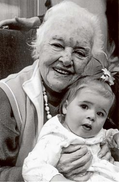 """99 years apart: Frances Bruce (100) with """"adopted"""" great, great granddaughter Logan Hull (one year old)."""