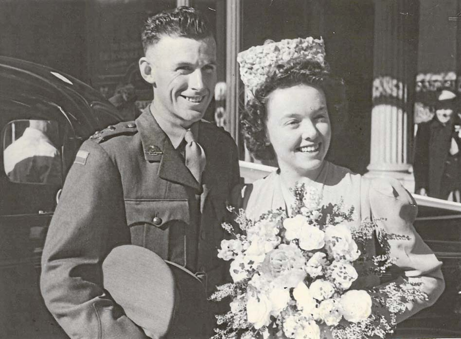 Wedding day: Frances was married to Tom Bruce in 1943.