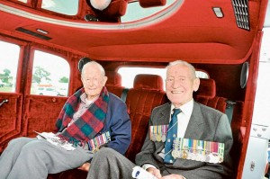 A limousine carried Rye RSL veterans Bill Norman, 93, and Geoff Diamond.