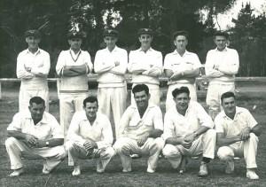 Tyabb Cricket Club, Season 1959-60: Back row l-r Keith Rosewarne, Don Prout, Cecil Moss, Ron Grant, Ernie Rigby, Les Thornell. Front row l-r Kevin Hodgins, David Barclay, Maurice Clarke, Ken Davidson, Geoff Stockton