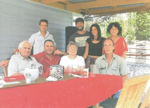 The Prout family. Standing, grandson Brennan, Luke Pilla, and granddaughter Rebecca, daughter Susan Cairney. Seated Don, son Andrew, Shirley, and Warren Cairney.